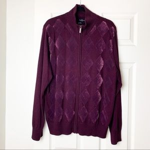 Marc Ecko cut & sew maroon velvet knit jacket L